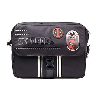 Deadpool Messenger Bag Face Icon Logo new Official Marvel Black