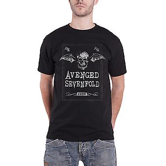 Hævnet Sevenfold T shirt ansigt Card Death bat band logo ny officiel Herre sort