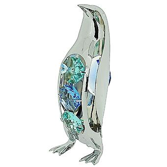 Crystocraft Penguin Freestanding Chrome Plated Standing Ornament Made With Swarovski Crystals