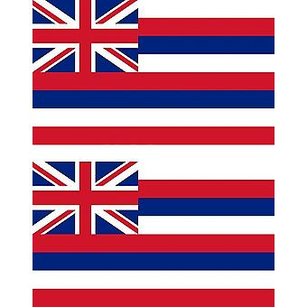 2 X Sticker Sticker Car Moto Vinyl Macbook Flag USA Americain Hawai