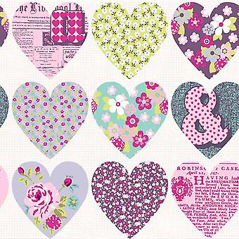Patchwork Heart Wallpaper Purple Arthouse 668501