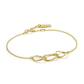 Ania Haie Sterling Silver Shiny Gold Plated Swirl Nexus BraceletB015-01G