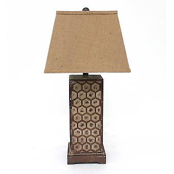 """7"""" x 7"""" x 28.5"""" Brown, Industrial With Honeycombed Metal Base - Table Lamp"""