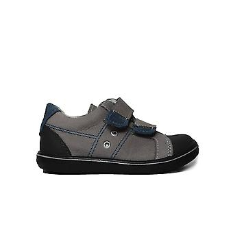Ricosta Nipy 2525600-486 Grey Leather Boys Rip Tape Casual Trainer Shoes