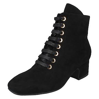 Ladies Spot On Lace Up Ankle Boots F51120