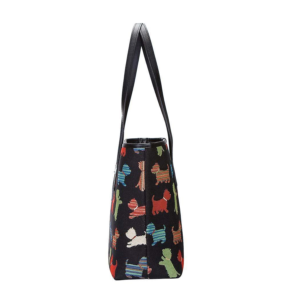 Playful puppy shoulder tote bag by signare tapestry / coll-puppy
