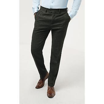 Dobell miesten vihreä flecked Donegal Tweed housut regular fit