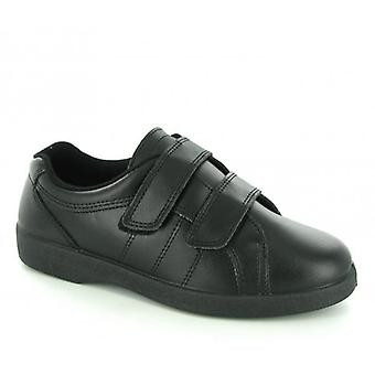 Boulevard Napoli Ladies Velcro Wide E Fit Leather Shoes Black