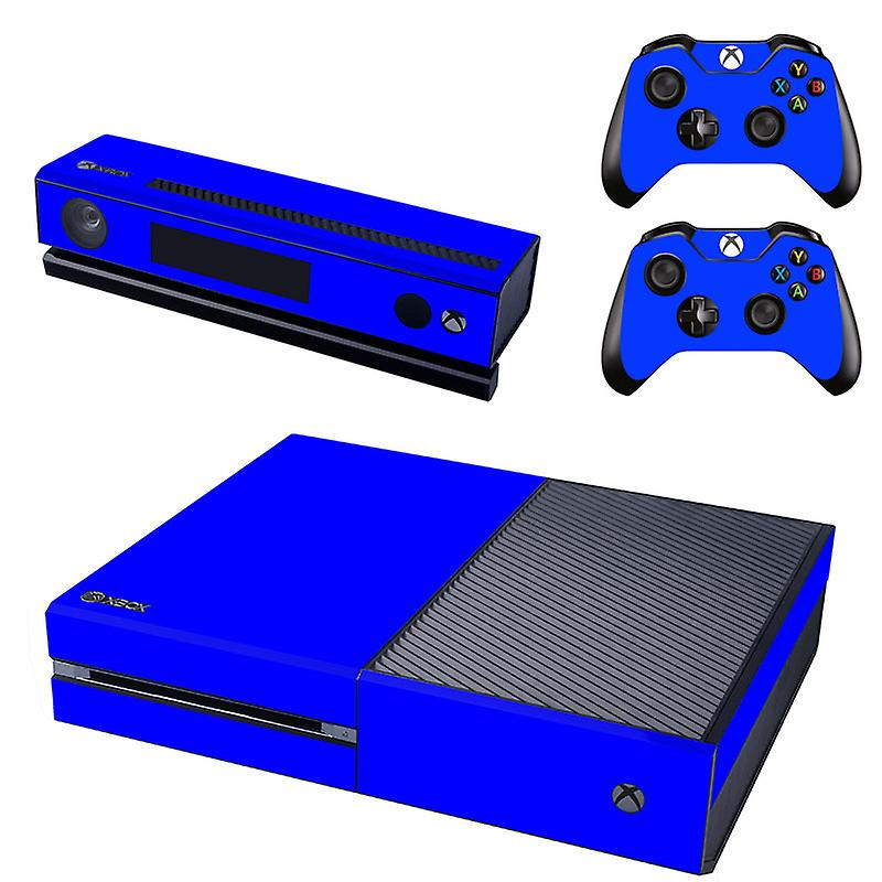 REYTID Console Skin / Sticker + 2 x Controller Decals & Kinect Wrap Compatible with Microsoft Xbox One - Full Set - Blue