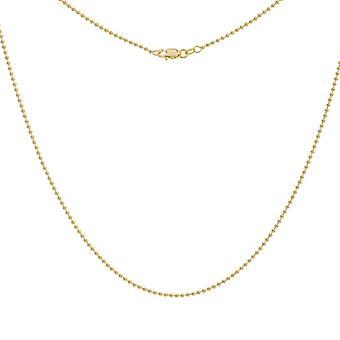14k Gul Guld 1,5 mm Pärl Kedja Halsband Hummer Lås Stängning Smycken Gåvor för kvinnor - Längd: 16 till 20