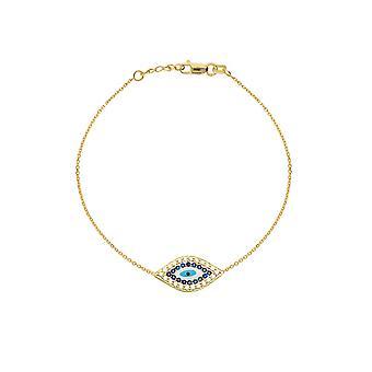 14k Yellow Gold Side ways Evil Eye Adjustable Bracelet 7.50 Inch Jewelry Gifts for Women - 1.9 Grams