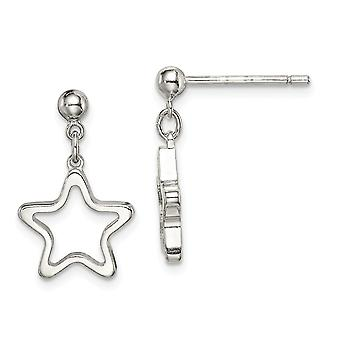 925 Sterling Silver Cut out Star Dangle Post Earrings Jewelry Gifts for Women - 1.8 Grams