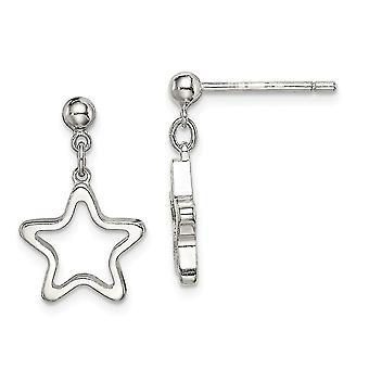 925 Sterling Silver Cut out Star Bungelen Post Oorbellen Sieraden Geschenken voor vrouwen - 1,8 gram