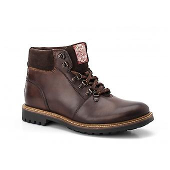 Base London Mens Fawn Brown Burnished Leather Lace Up Hiking Trail Boots
