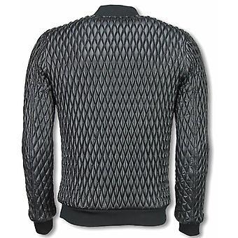 Biker Jacket-stitched window motif-black