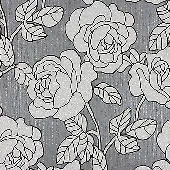 Opal Floral Glitter Wallpaper Grey and Silver P+S 02492-40