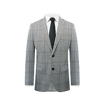 Avail London Mens Black and White Suit Jacket Slim Fit Notch Lapel Prince of Wales Check