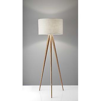 Treble Floor Lamp Three Natural Wood Finish Legs