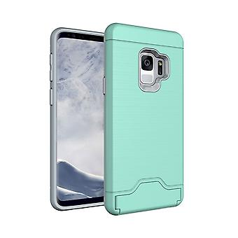 För Samsung Galaxy S9 Back Case, Borsta Textur Cover med korthållare, Mint Green