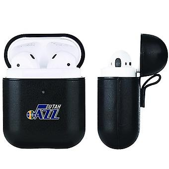 Utah Jazz NBA Fan Brander Zwart lederen AirPod Case