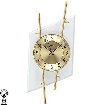 AMS 5883 Wall clock radio radio wall clock analog modern brass colours with glass
