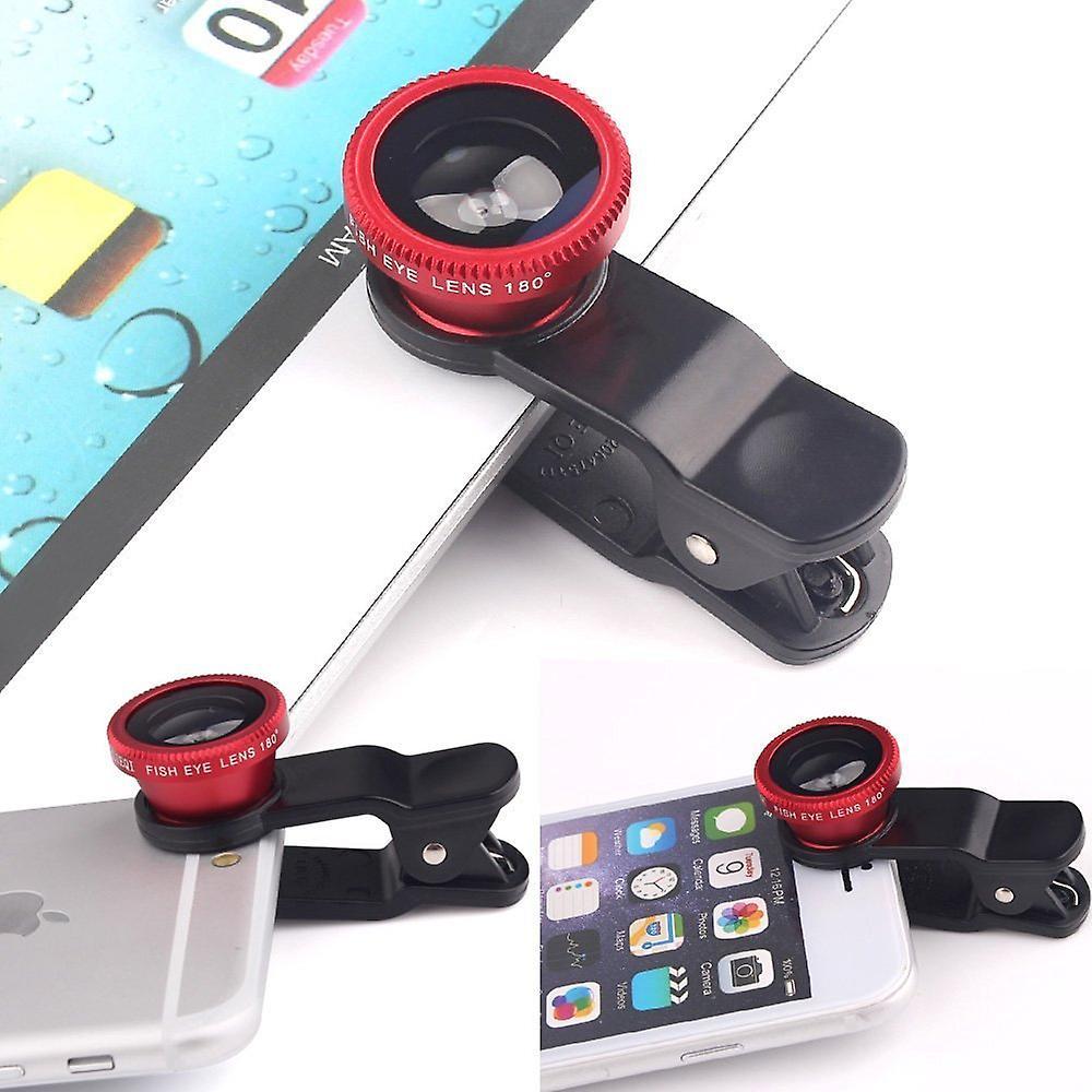 ONX3 Lenovo P2 (rosso) 3 in 1 telefono fotocamera lente Kit Fisheye Lens + grandangolare + obiettivo Macro con universale gradi clip-on 180 per sia Android e iOS dispositivi
