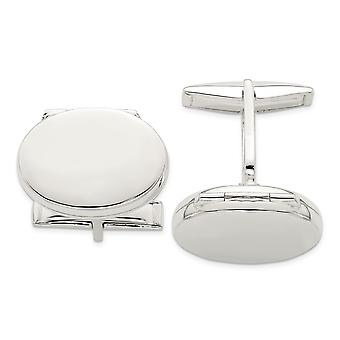 925 Sterling Silver Polished Holds 2 photos Oval Locket Cuff Links Jewelry Gifts for Men