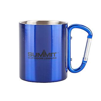 Summit 300ml Stainless Steel Mug Double Wall Carabiner Handled Camping Hiking - Blue