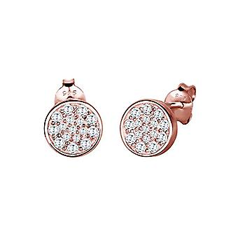 Elli Earrings women's pin in Silver 925 - Pink Gold Plated with White Zirconia - Brilliant Cut