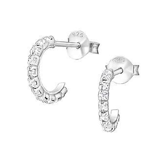 Половины Хооп - 925 стерлингового серебра кристалл уха шпильки - W35577x