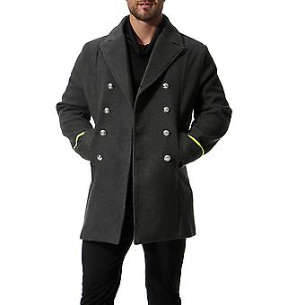 Cloudstyle Men's Pea Coat Mid Long Double-Breasted Military Trenchcoat