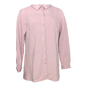 Joan Rivers Classics Collectie Women's Top Button Front Shirt Pink A295910