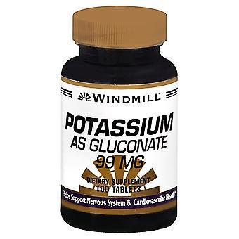 Windmill potassium gluconate, 99 mg, tablets, 100 ea