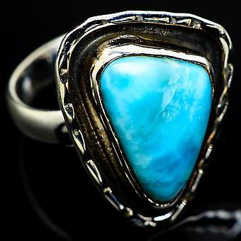 Larimar Ring Size 8.25 (925 Sterling Silver)  - Handmade Boho Vintage Jewelry RING7882