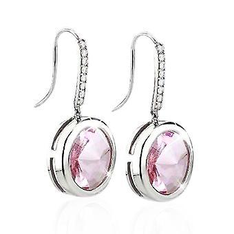 Ah! Jewellery Light Rose Simulated Diamond Dangle Hook Earrings. Sterling Silver, Stamped 925