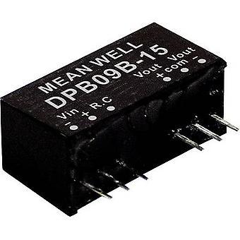 Keskimääräinen DPB09B-15 DC/DC-muunnin (moduuli) 300 mA 9 W Ei. lähtöjen määrä: 2 x