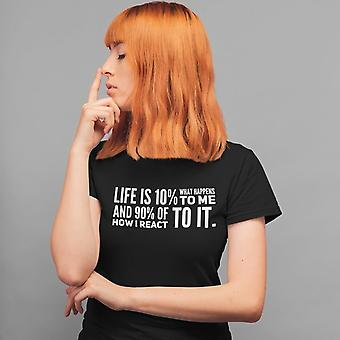 Women's Slim Fit Tee | Life is 10% What Happens to Me, and 90% of How I React to It (black/grey)