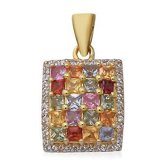 AA Rainbow Sapphire Cluster Vedhæng To Tone Guld Over Silver White Zircon TJC