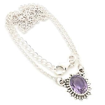 Amethyst Necklace 925 Silver Sterling Silver Necklace Purple (MCO 12-51)