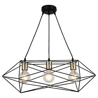 Lámpara de Suspensión Este Color Oro, Negro en Metal, L22xP64xA115 cm