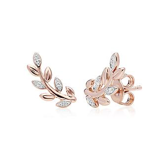 O Blatt Diamant Pave Ohrstecker in 9ct Rose Gold 191E0390029