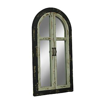Vintage Finish Wood Arched Window Frame Wall Mirror with Doors