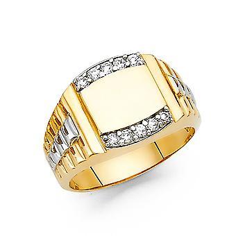 14k gulguld og hvidguld CZ Cubic Zirconia Simuleret Diamond Herre Ring Størrelse 10 smykker Gaver til mænd