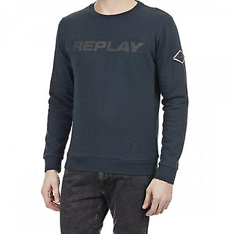 Replay Reflective Logo Crew Neck Sweatshirt Navy M3220