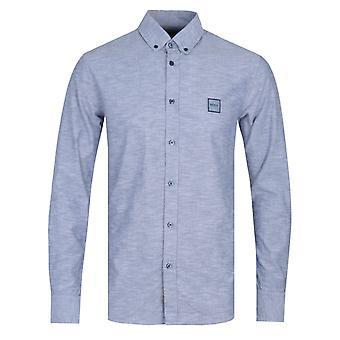 BOSS Mabsoot Cotton Long Sleeve Blue Shirt