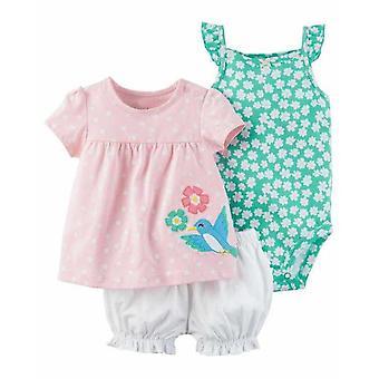 3Pcs Flower Printed Tops And Romper Dress Bodysuit -Design 3