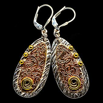 "Engraved Copper Earrings 2"" (925 Sterling Silver)  - Handmade Boho Vintage Jewelry EARR403562"