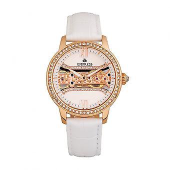 Empress Rania Mechanical Semi-Skeleton Leather-Band Watch - White