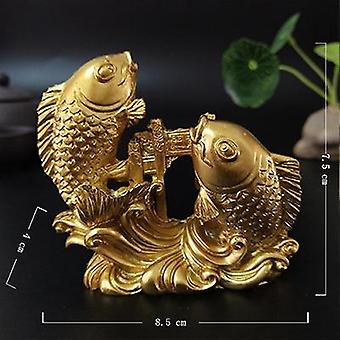 Gold Chinese Feng Shui Hand Carved Sculpture Fish Figurine