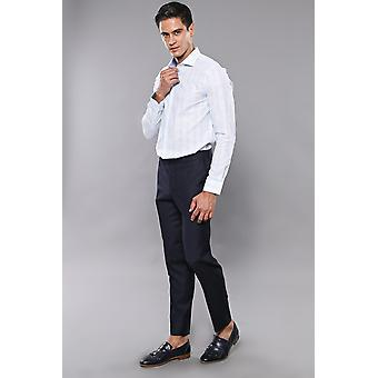 Navy blue fabric trousers